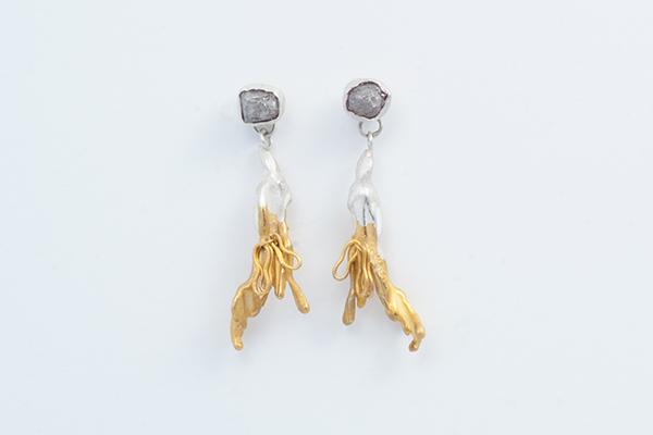 gold dipped diamond earrings